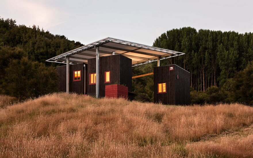 Ecosanctuary Welcome Shelter: Floating Roof Over the Wooden Boxes 16