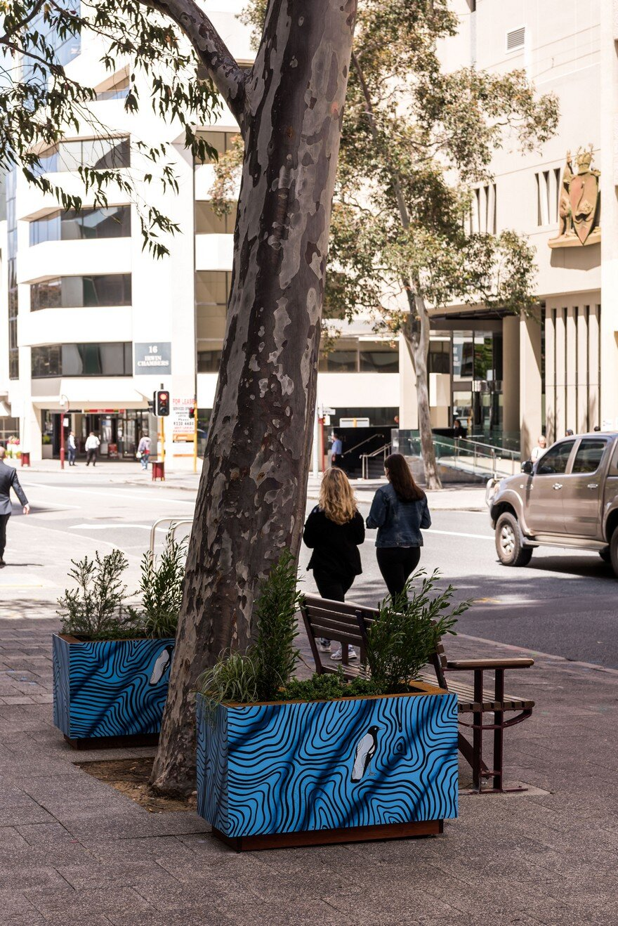 65 Planter Boxes Painted by Australian Artists Have Been Installed in Perth to Revitalize the City 9