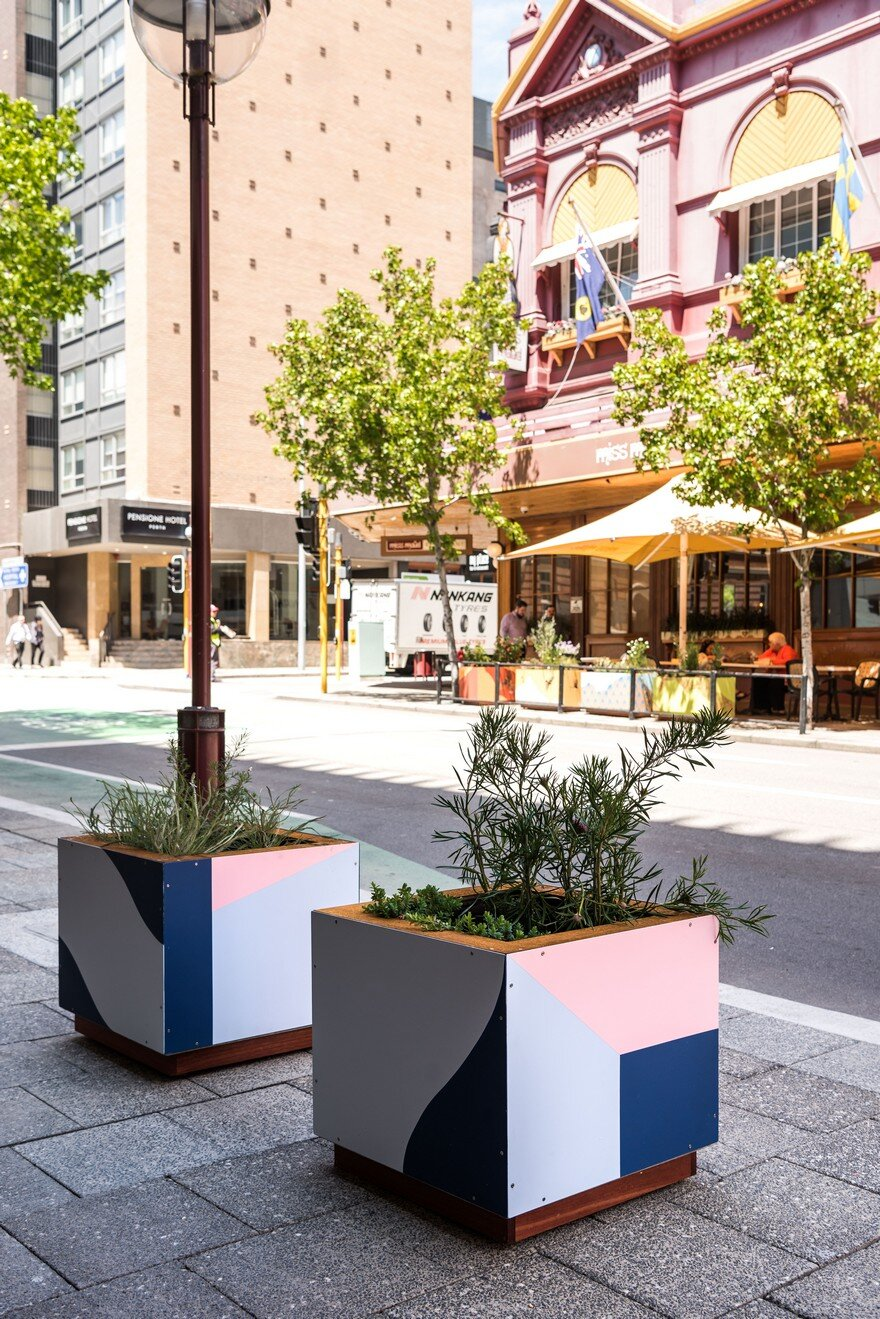 65 Planter Boxes Painted by Australian Artists Have Been Installed in Perth to Revitalize the City 11
