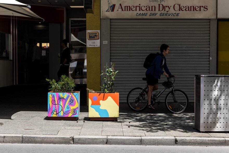 65 Planter Boxes Painted by Australian Artists Have Been Installed in Perth to Revitalize the City 13