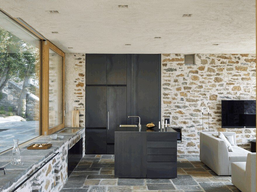 Stunning Stone House in Switzerland Unveils Modern Interiors