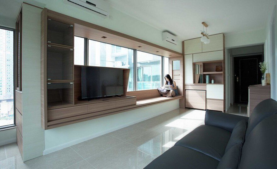 Adjustable Wooden Furniture Maximizes Small Apartment in Hong Kong