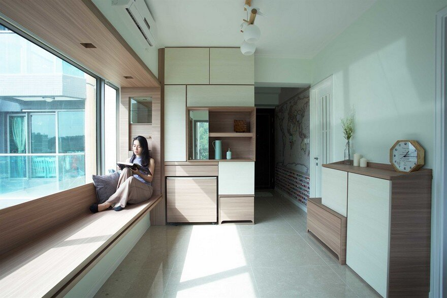 Wooden Furniture Maximizes Small Apartment in Hong Kong
