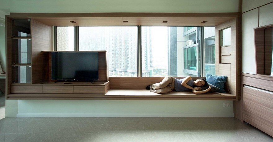 Adjustable wooden furniture maximizes small apartment in for Apartment 9 furniture
