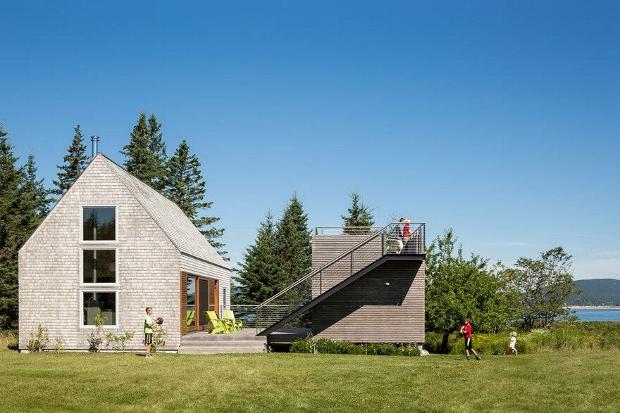 This cranberry isles house is a modern interpretation of New england architects