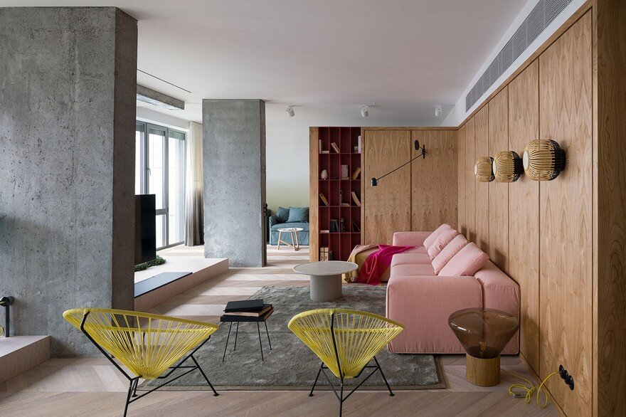 Modern Concrete Apartment Softened By The Wooden Notes in Kiev
