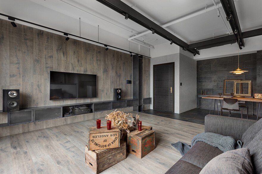 industrial style home in taiwan enhanced by textural diversity. Black Bedroom Furniture Sets. Home Design Ideas