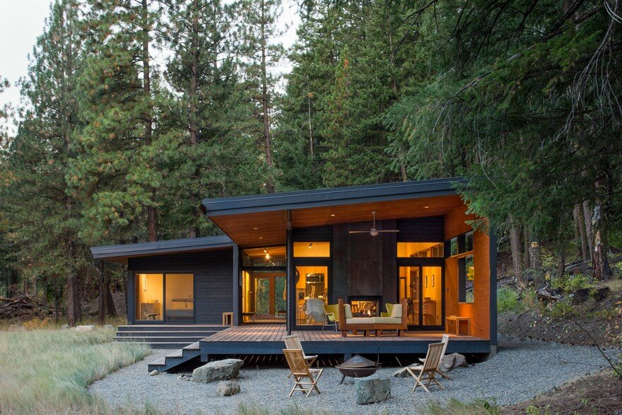 Modern mountain cabin methow valley prentiss balance for Modern cabin house
