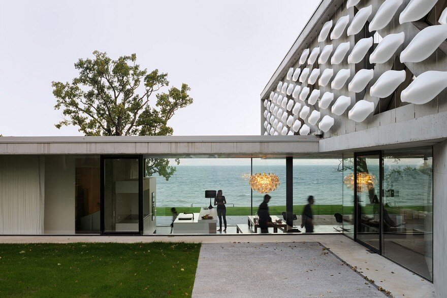 Contemporary Lake House Made Entirely of Raw Concrete