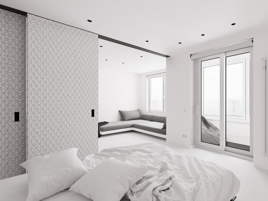 Minimalist small apartment in moscow designed in white for Minimalist small apartment