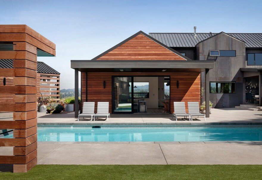 Open floor plan home featuring a natural palette of steel for Open floor plan metal homes