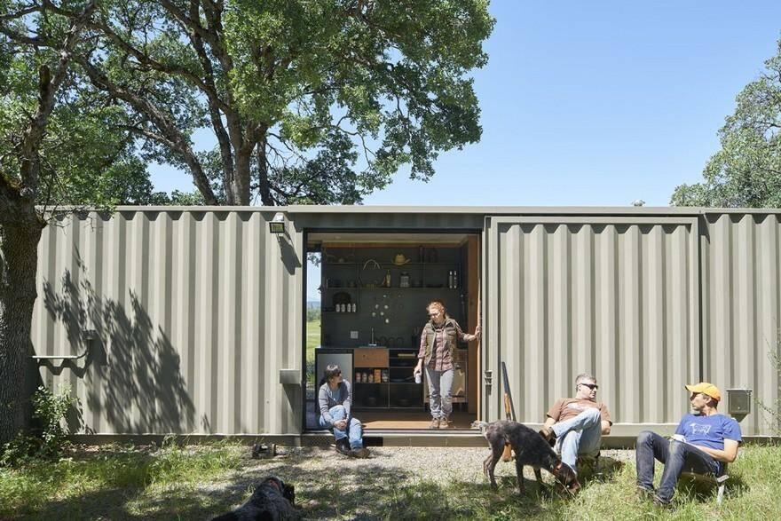 40' Highboy Shipping Container Turned into a Cozy Hunting Cabin 10