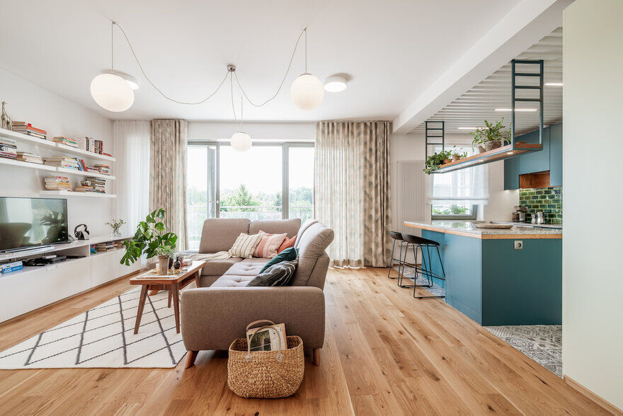Wroclaw Apartment - Wood & Color by Marmur Studio