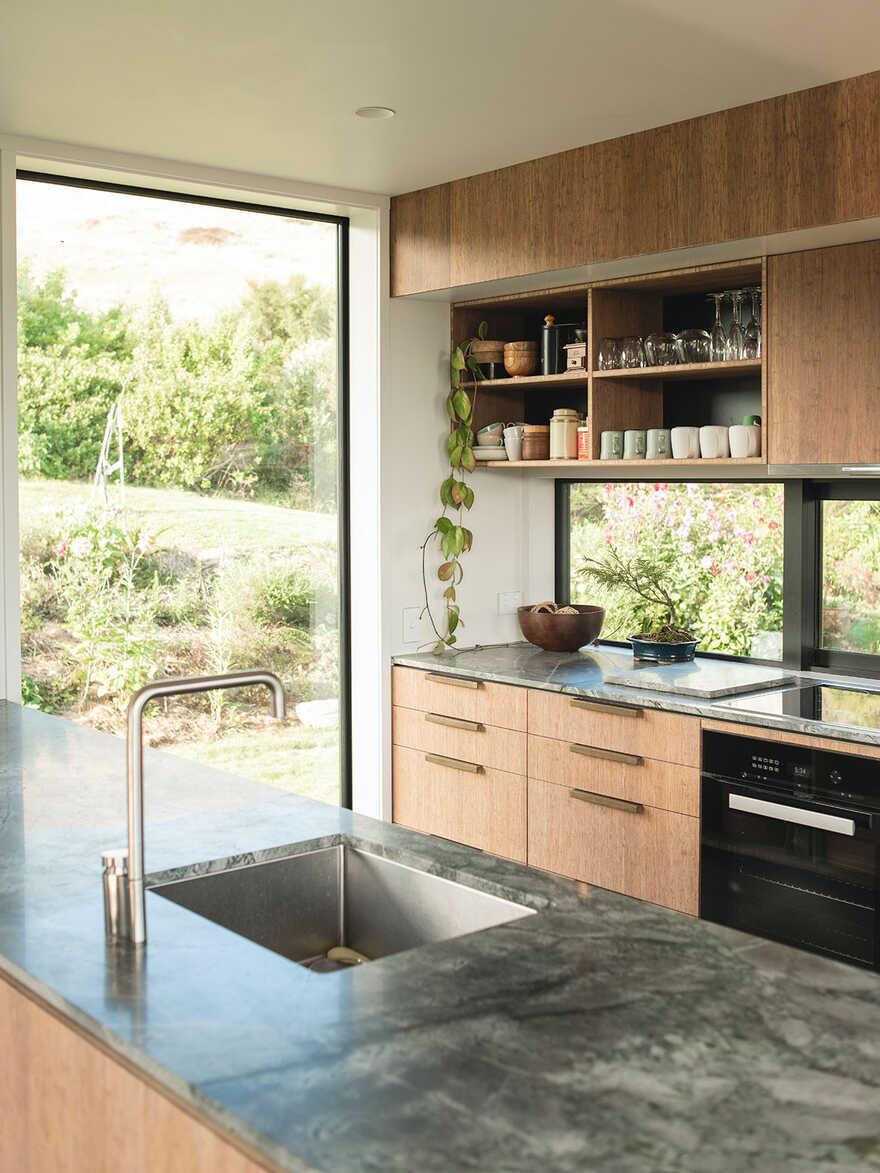 kitchen, Japanese Modernism Meets New Zealand Construction