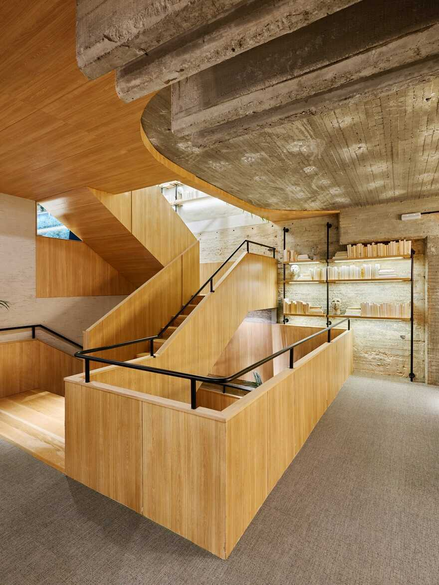 staircase, concrete+wood