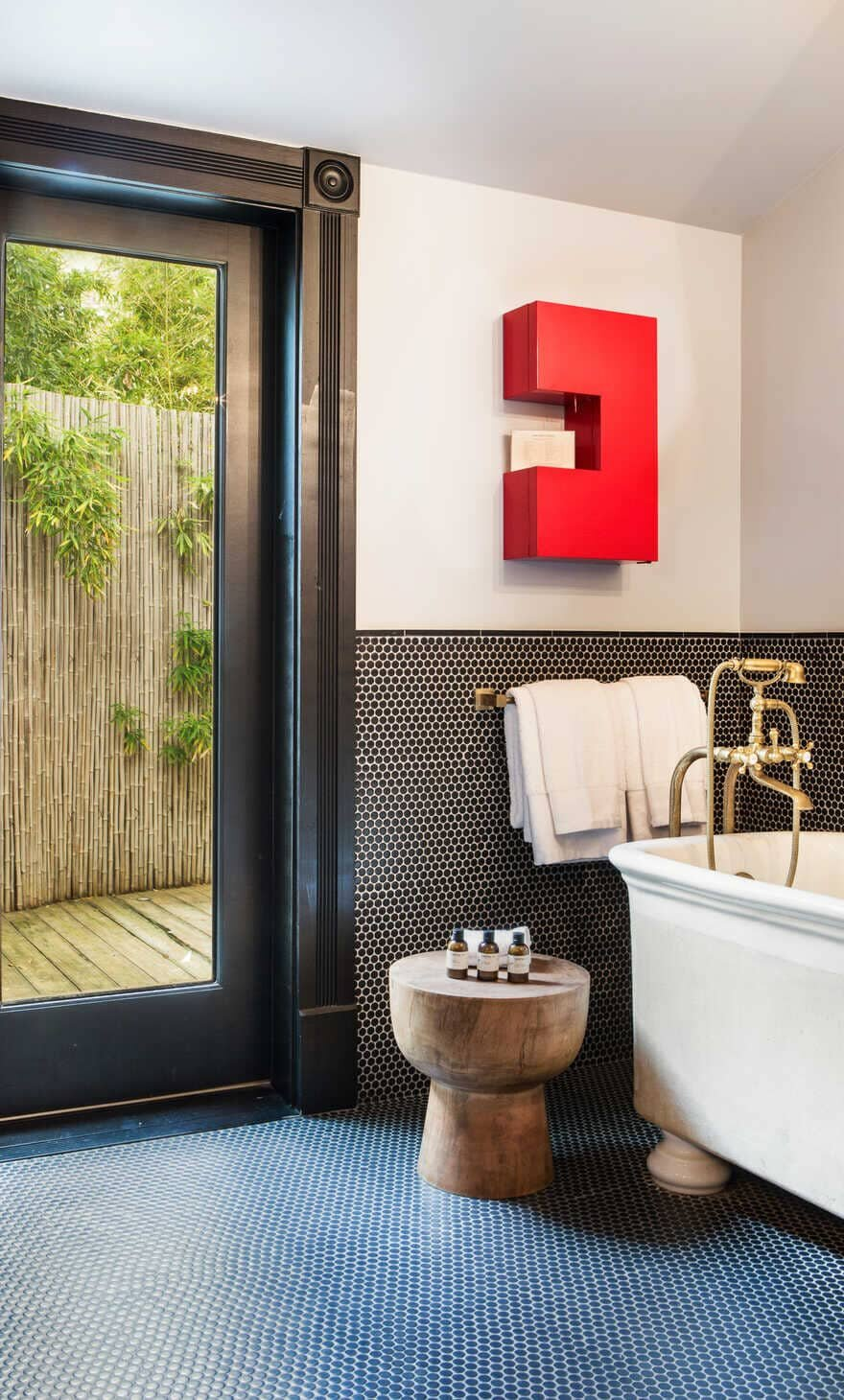 bathroom, a Sophisticated Hotel Merging History with Contemporary Style in Austin, Texas