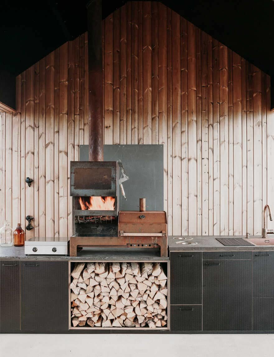 fireplace, kitchen, Project Ö / Aleksi Hautamäki