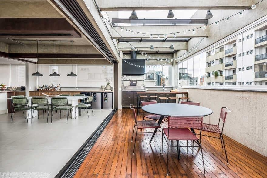 terrace+dining space, Brazil / Mandarina Arquitetura