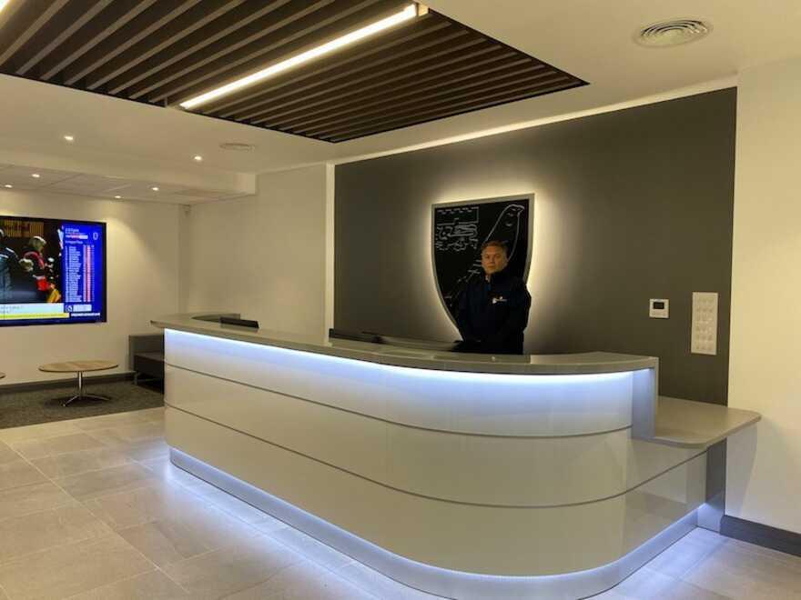 Colney Training Centre Transformation, reception, Bluespace studio