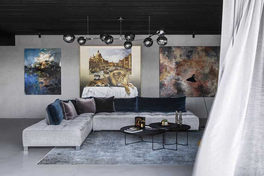 living room, a Brutalist Home in a Former Textile Factory