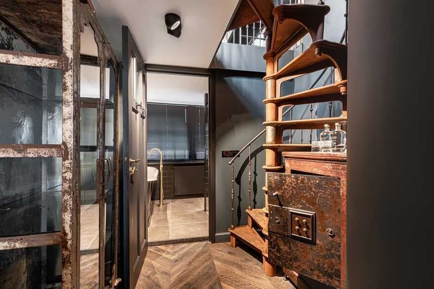 iron spiral staircase in Amsterdam