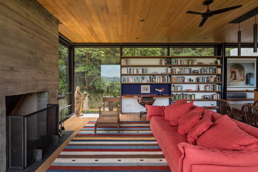 living room, Private Retreat Adjacent to the Tijuca National Park, Olson Kundig
