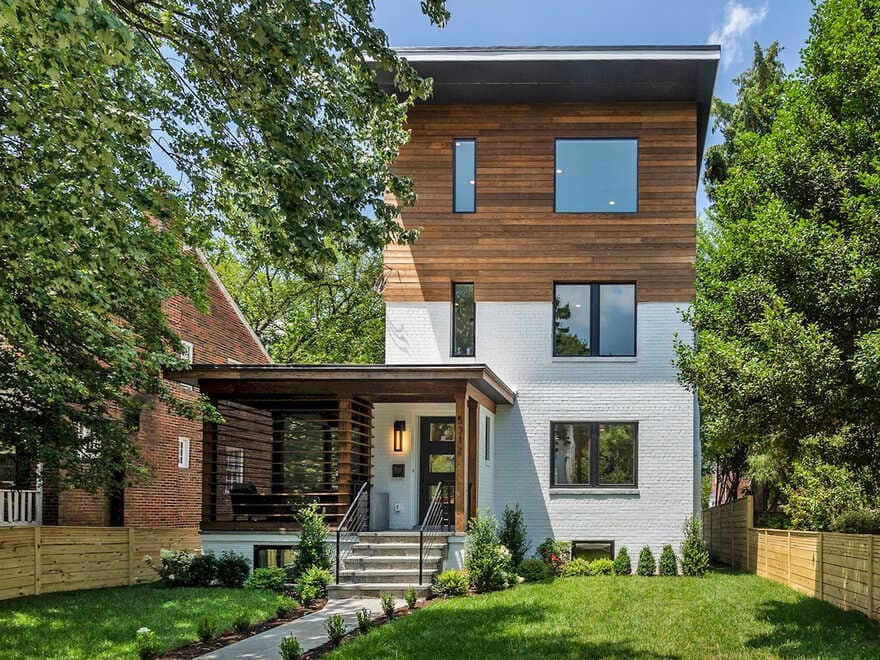 Chevy Chase House, a Butterfly roof & Cascading Wood Siding Transforms This Home in DC