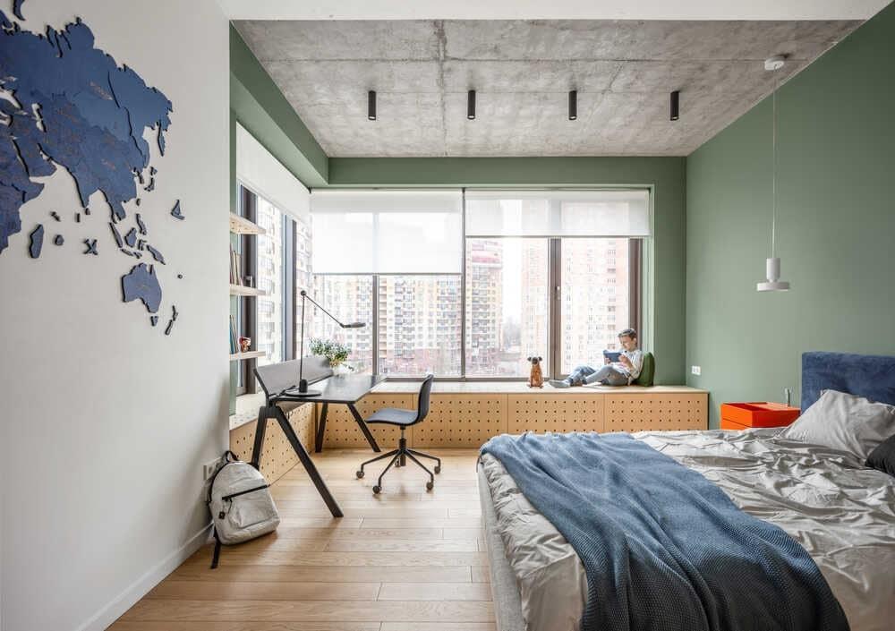 bedroom, interior design by Bogdanova Bureau